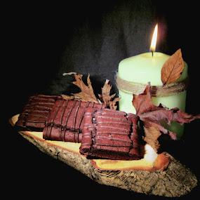 CHOCOLATE FUDGE BROWNIES by Karen Tucker - Food & Drink Candy & Dessert ( desserts, chocolate cakes, dessert, candlelight, uk, candle, still life, autumn leaves, cakes, food, chocolate fudge brownies )