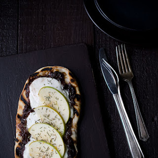 Grilled Flatbread with Port Onion Jam, Burrata and Apples