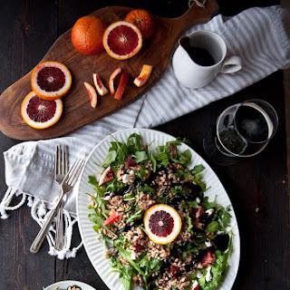 Drunken Winter Farro Blood Orange Salad with Stout Balsamic Glaze