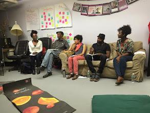 Photo: 4.16.15 BMC - Our panel. (L to R) Tomi (moderator-S.O.S.), Eugene (S.O.S.), Ceci (S.O.S.), Darnell (activist), zakia (ND)
