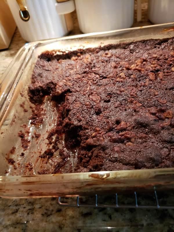 Chocolate Cherry Dump Cake Waiting To Be Eaten.