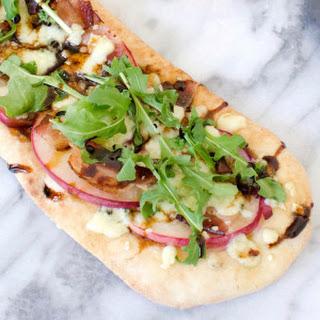 Gorgonzola Cheese, Peach and Bacon Personal Flatbread Pizzas.