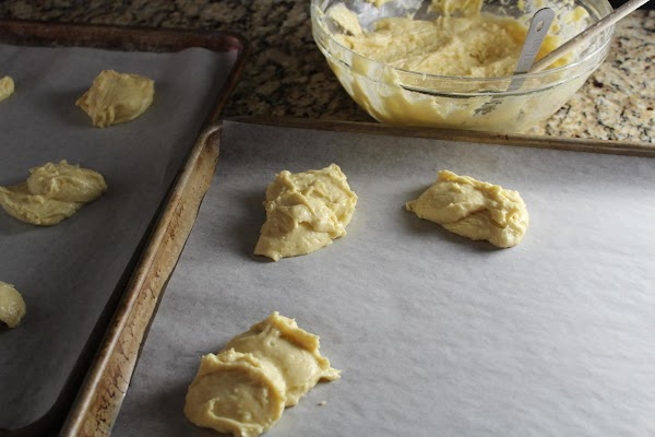 Fill wells of pan with 2 tbsp of batter or drop onto a cookie...