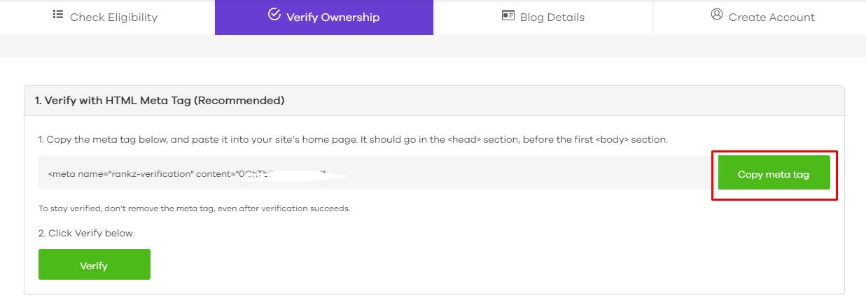 ownership verification flyout