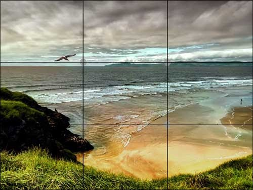 Beach scene with rule of thirds grid