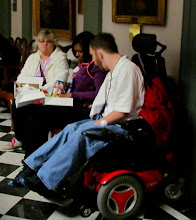 Photo: Advocates enjoying lunch at Disability Day at Legislative Hall on 3.25.15.