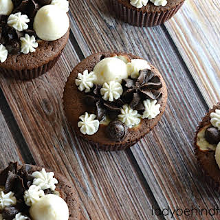 Triple Chocolate Fudge Cupcakes.