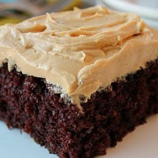 Homemade Chocolate Cake w/ Peanut Butter Frosting.