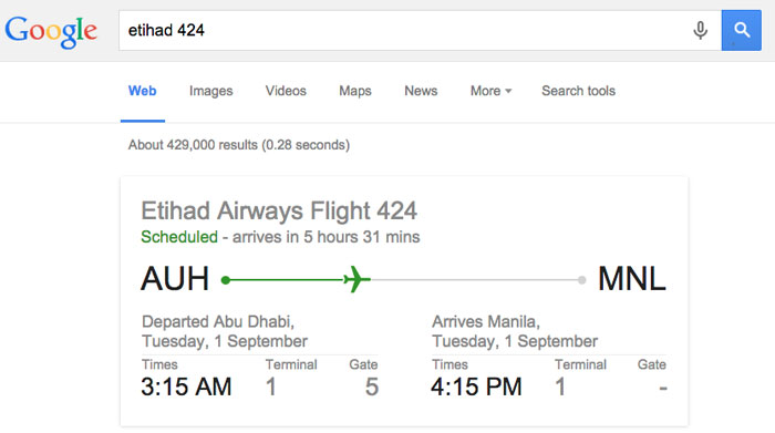 google tips and tricks - flight schedule