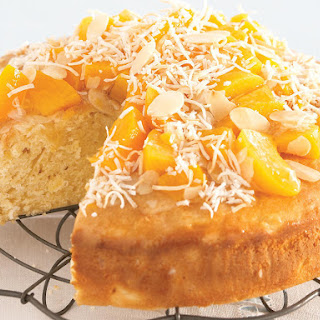 Pineapple Cake with Peach Topping.
