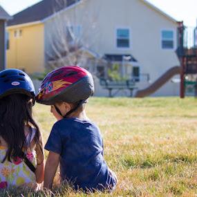 Little Break by Paul Cushing - Babies & Children Children Candids ( sister, park, grass, children, brother, kids, siblings )