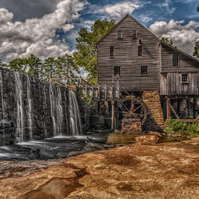 Yates Mill by Jeremy Yoho - Buildings & Architecture Other Exteriors ( water, wood, waterfall, stone, nostalgia, historic )