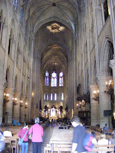 Photo: Looking down the main nave of Notre Dame.