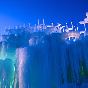 Blue Ice Castles by Heather Diamond - Abstract Fine Art ( winter, cold, ice castles, blue, ice, icicles, colorado, castles, 2012, aqua, silverthorne )
