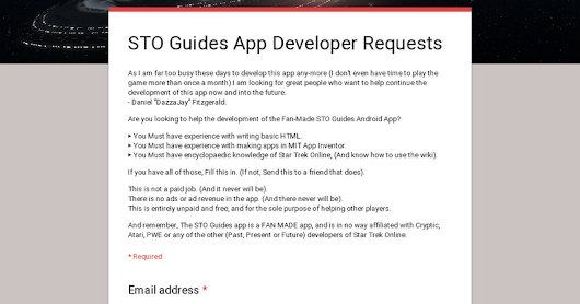 STO Guides App Developer Requests