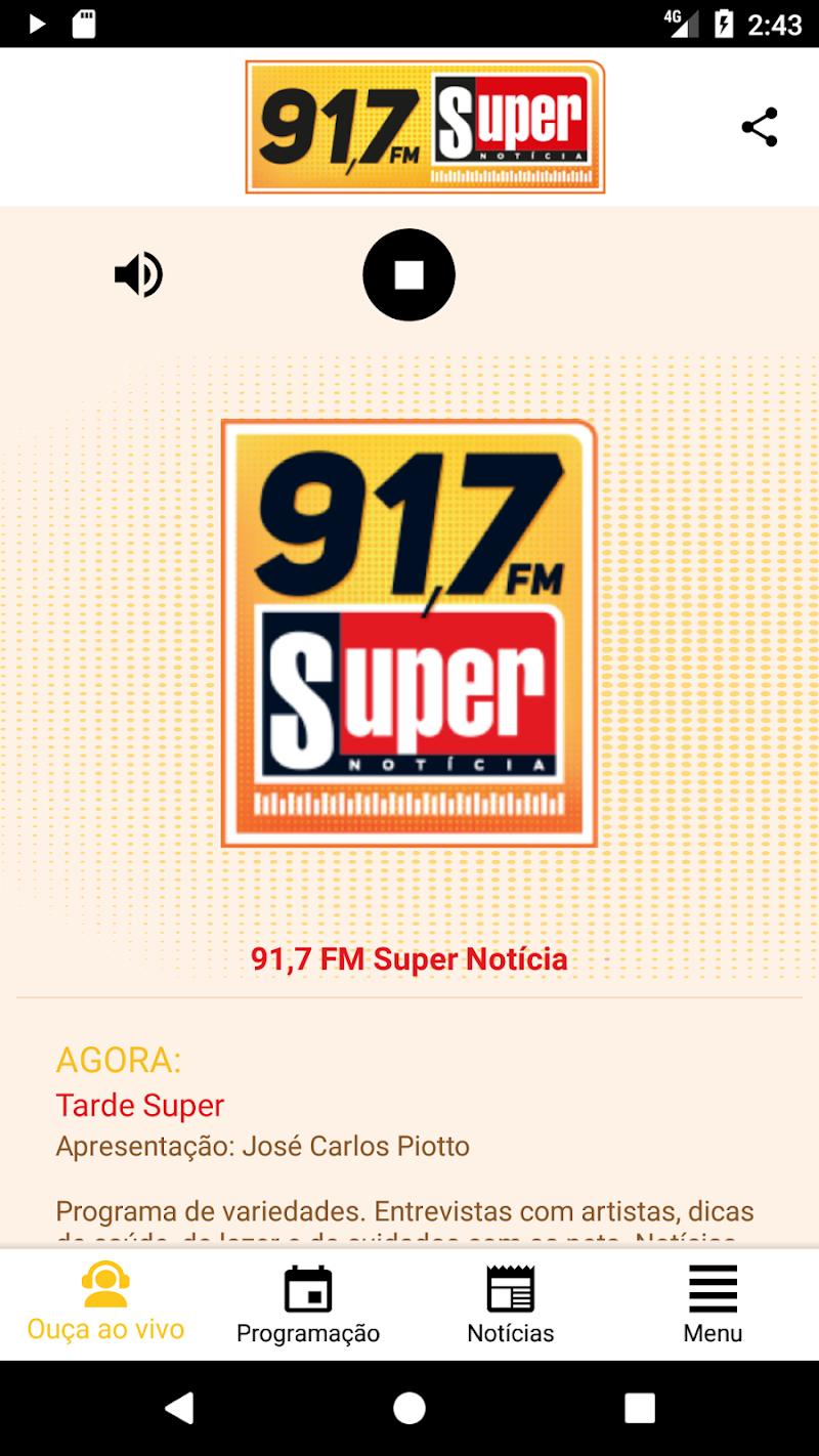 Скриншот Rádio SUPER NOTÍCIA 91,7FM
