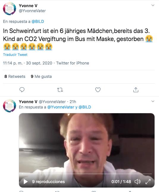 Foto de desinformación sobre supuesta muerte de una niña de 6 años por llevar mascarilla en Schweinfurt.