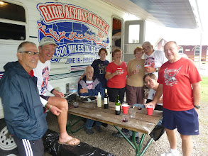 Photo: Campers visiting us in Port Huron From left to right Ed, Jim, Dave, Robyn Wichers whose husband Andrew is a Army Col. currently deployed in Kandahar Afganistan, Ginger Nesbitt, Florence Jagodzinski (Robyn's mother), Dale, Pat, Bill Nesbitt a retired USMC Col. We also had a visitor who goes by Elliot Ness a retired general who donated $20 to us.