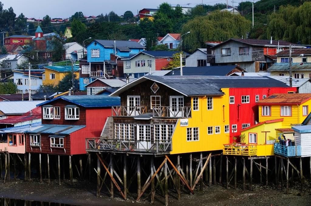 castro stilt houses island chiloe chile
