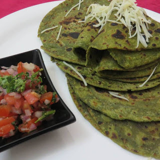Fusion Spinach Parathas With Onion Tomato Salsa
