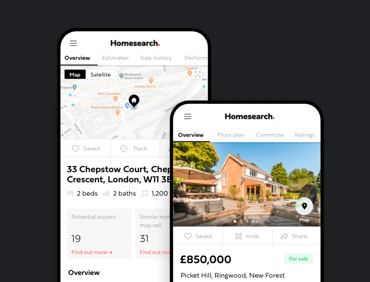 A listing for a home on the Homesearch app