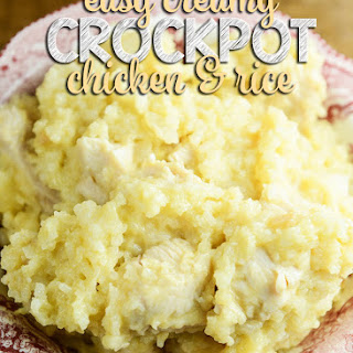 Easy Creamy Crock Pot Chicken and Rice.