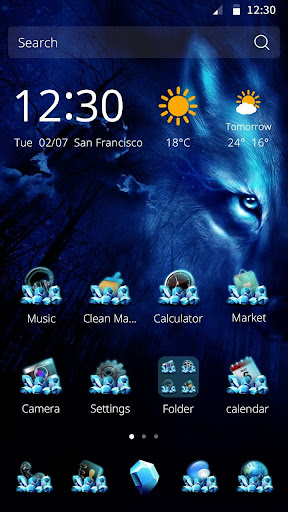Wolf Night CM Launcher Theme