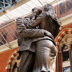 The Lovers statue at St Pancras, London by Lori Rider - Artistic Objects Other Objects