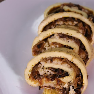 Caramelized Onion and Mushroom Rolled Omelet