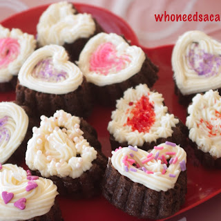 Chocolate Cake Hearts with Cream Cheese Frosting