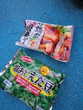 Photo: ん?冷食のから揚げに枝豆?
