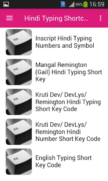 Hindi Typing Shortcut Keys – (Android Apps) — AppAgg