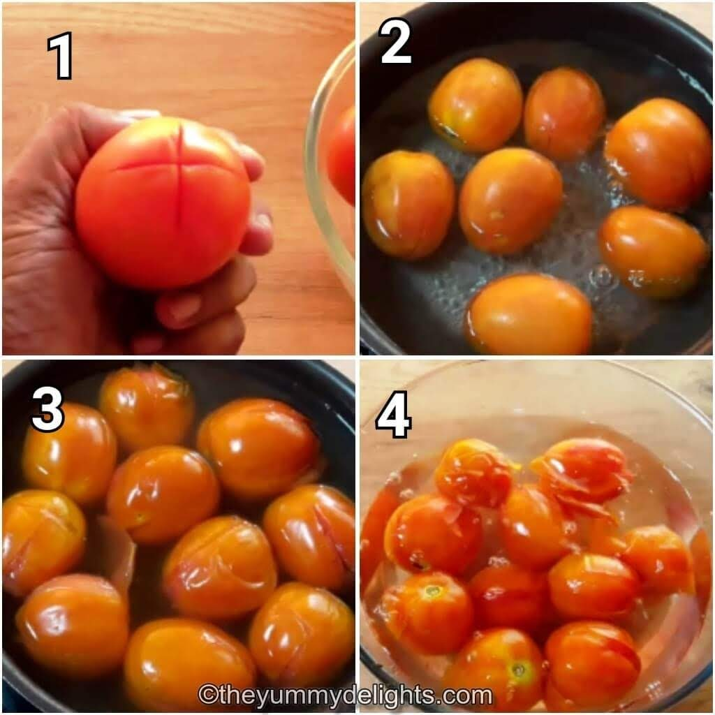 step by step collage of blanching the tomatoes to make arrabbiata sauce