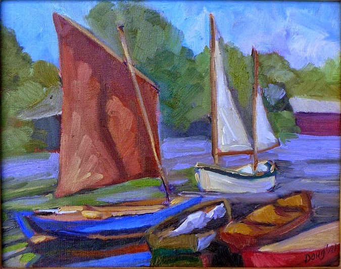 Photo: Drying sails 8X10 Oil on canvasboard