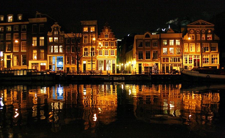 Amsterdaming 1 by Barb Šajn - City,  Street & Park  Street Scenes ( city at night, street at night, park at night, nightlife, night life, nighttime in the city )