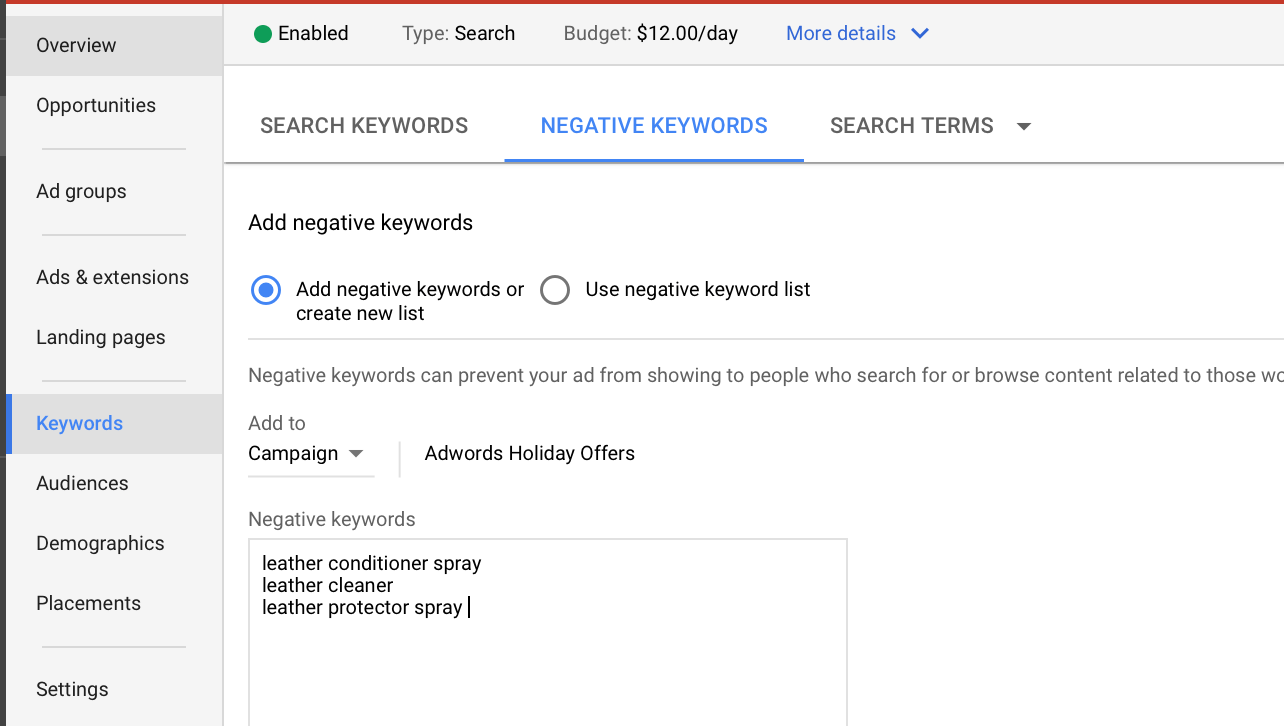 how to use negative keyword lists