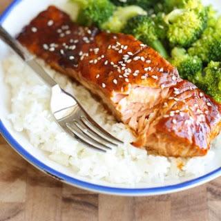 Teriyaki Salmon and Broccoli Bowls.