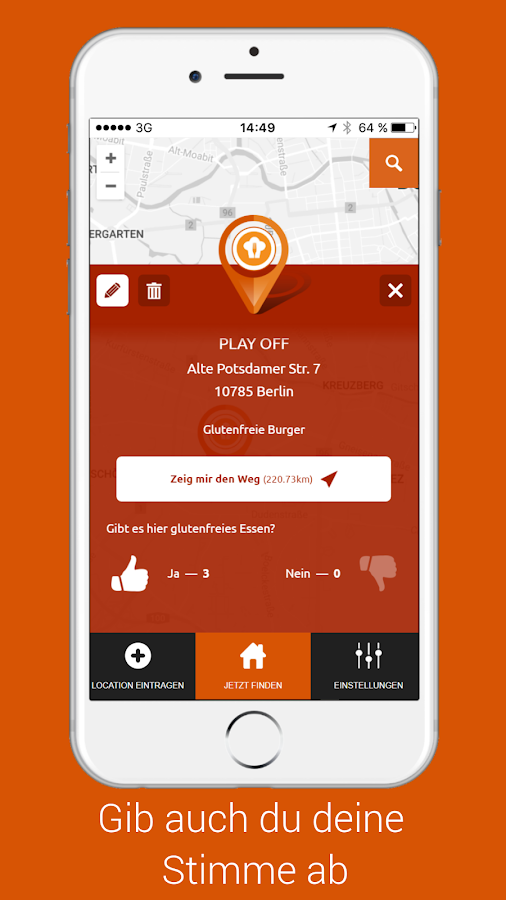 Glutenfreier Restaurant Finder- screenshot