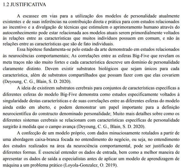 Exemplo de justificativa em página específica