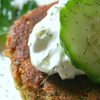 Sean's Falafel and Cucumber Sauce.