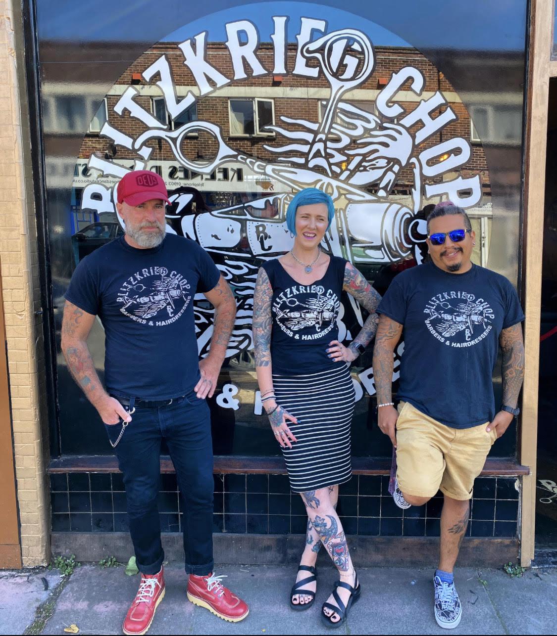 The team at Blitzkrieg Chop: Ian, Danielle, and Jhon
