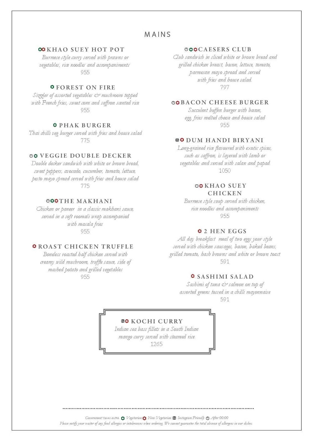 Long & Short - InterContinental menu 6