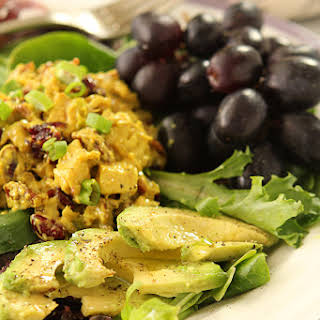 Curried Chicken Salad with Dried Cranberries and Toasted Walnuts.