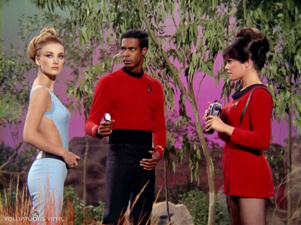 Barbara Bouchet as the alien Kelinda in Star Trek.