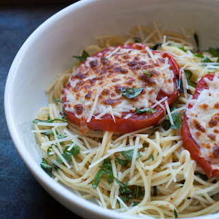 Spaghetti With Cheesy Broiled Tomatoes And Basil.