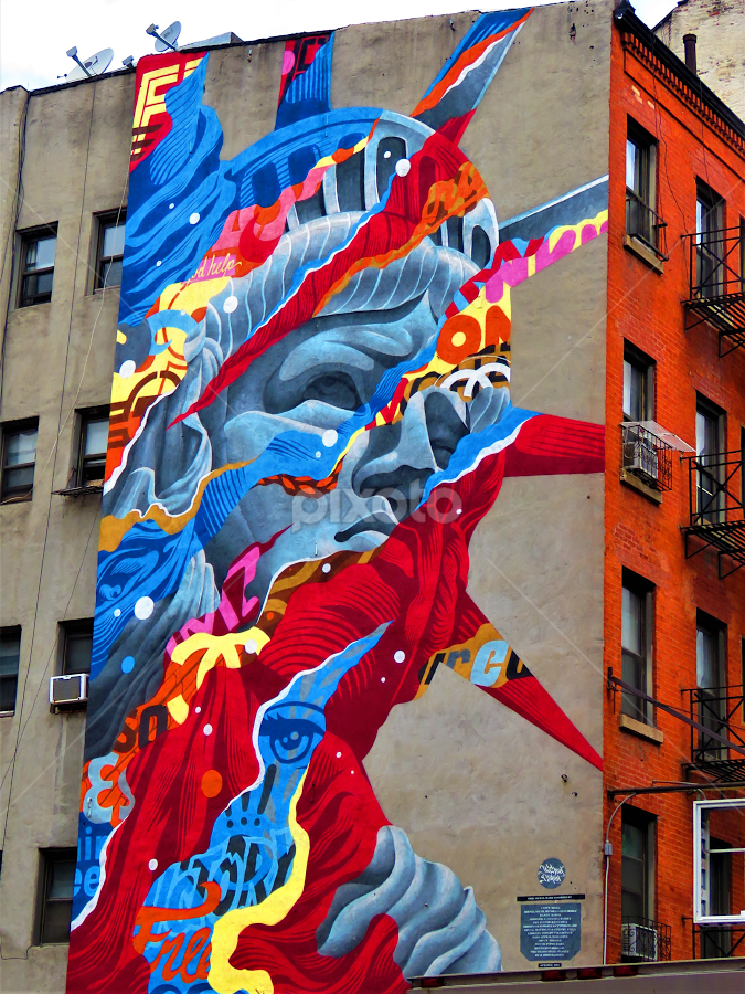 New York City Little Italy by Hal Gonzales - City,  Street & Park  Neighborhoods ( mural, liberty, street scene, nyc, street photography,  )