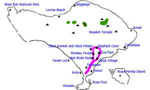 Bali animal day tour map