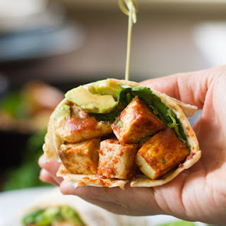 Garlic Roasted Cauliflower and Spicy Baked Tofu Burritos