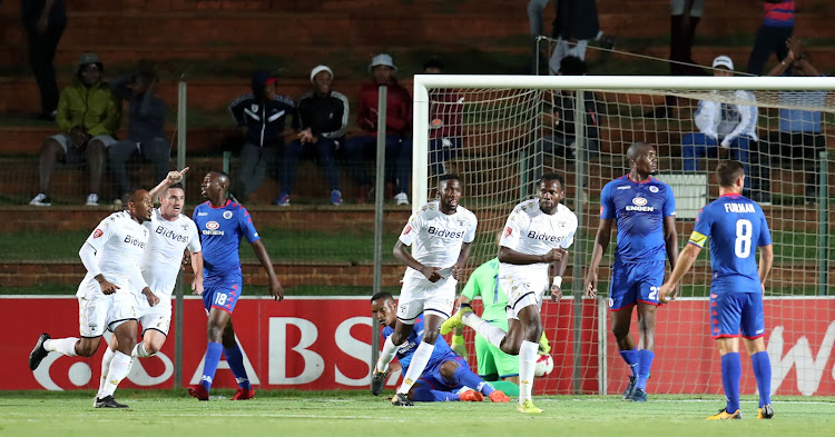 Bongani Khumalo of Bidvest Wits celebrates goal during the Absa Premiership 2017/18 match against Supersport United at Bidvest Stadium, Johannesburg South Africa on 10 January 2018. Wits won 2-0.