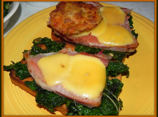 While cakes are cooking add your chopped kale to another pan w/butter and cook...